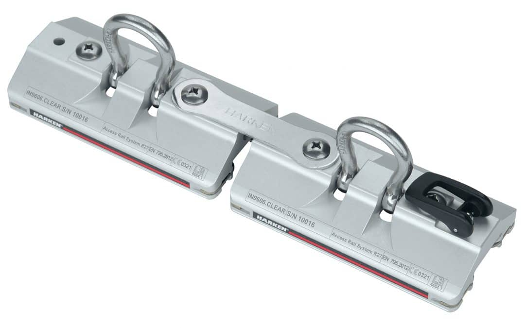 R27 ACCESS RAIL 2-TROLLEY ASSEMBLY – PINSTOP, CLEAR-ANODIZED